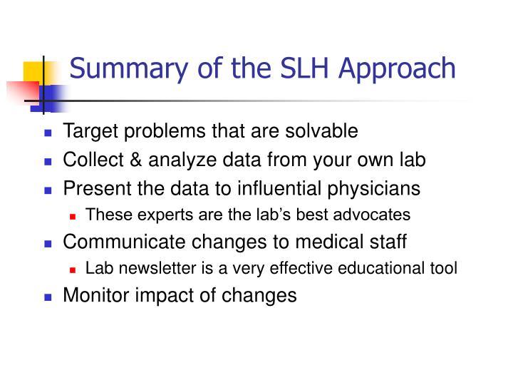 Summary of the SLH Approach