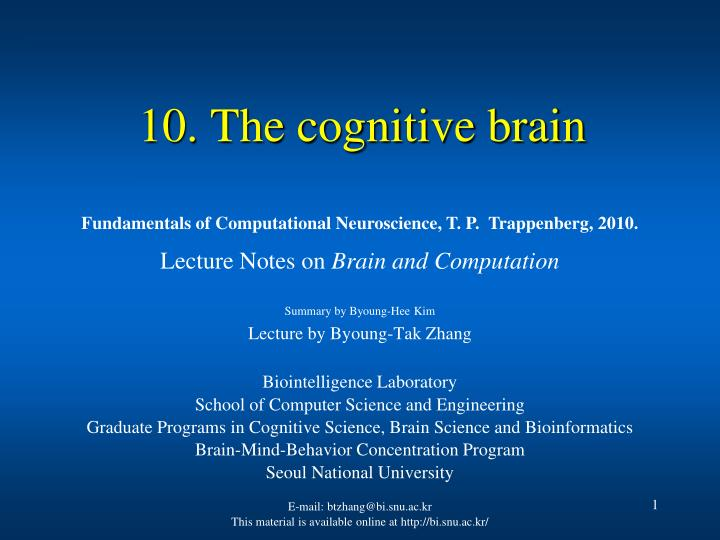 10 the cognitive brain n.