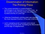 dissemination of information the printing press