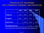percent of u s households with a telephone computer and internet use