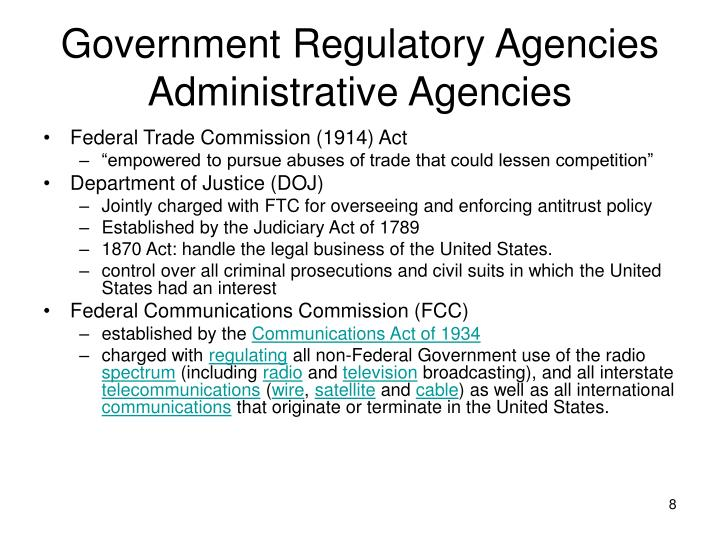 Government Regulatory Agencies