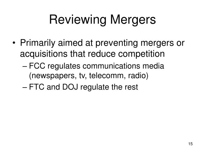 Reviewing Mergers
