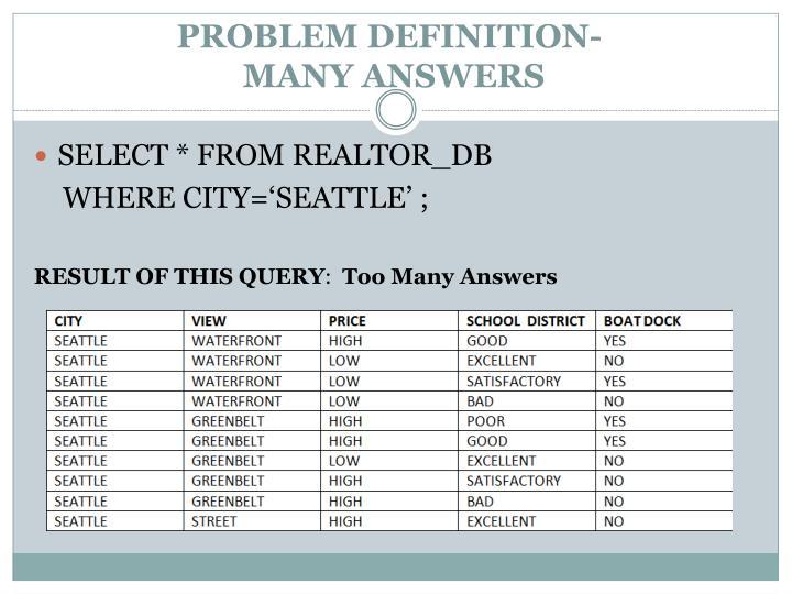 PROBLEM DEFINITION-