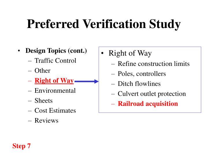 Preferred verification study