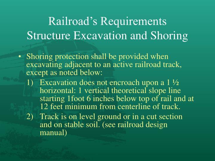 Railroad's Requirements
