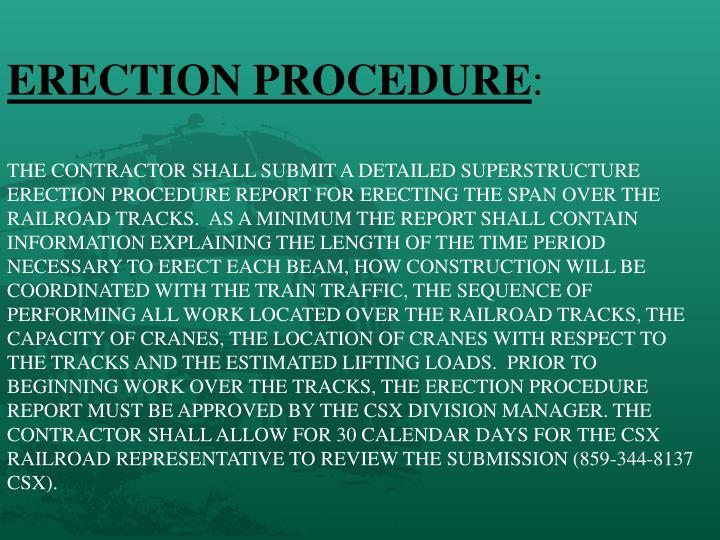 ERECTION PROCEDURE