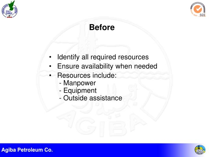 Identify all required resources