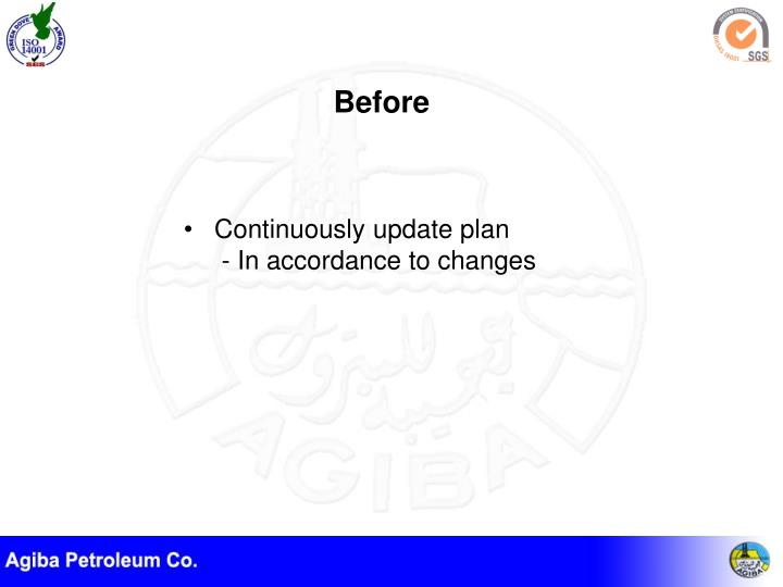 Continuously update plan