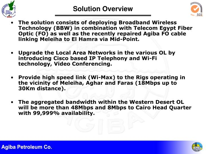 The solution consists of deploying Broadband Wireless Technology (BBW) in combination with Telecom Egypt Fiber Optic (FO) as well as the recently repaired Agiba FO cable linking Meleiha to El Hamra via Mid-Point.