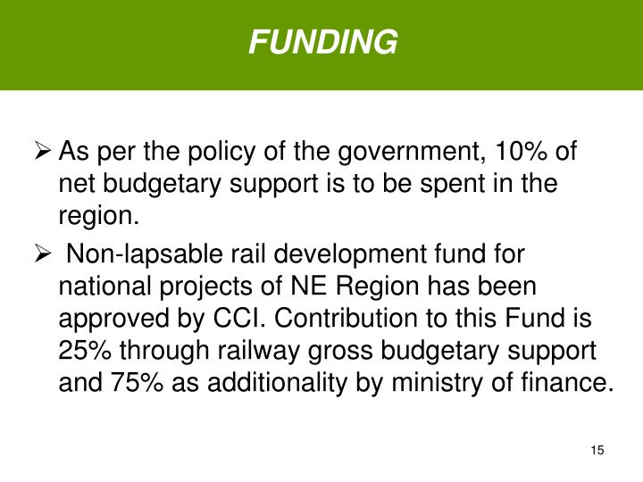 As per the policy of the government, 10% of net budgetary support is to be spent in the region.