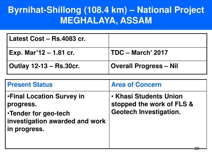 Byrnihat-Shillong (108.4 km) – National Project