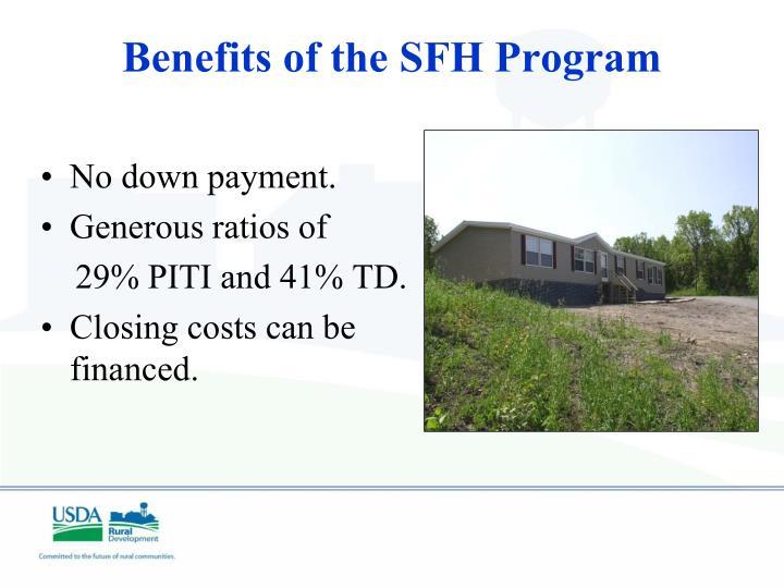 Benefits of the SFH Program