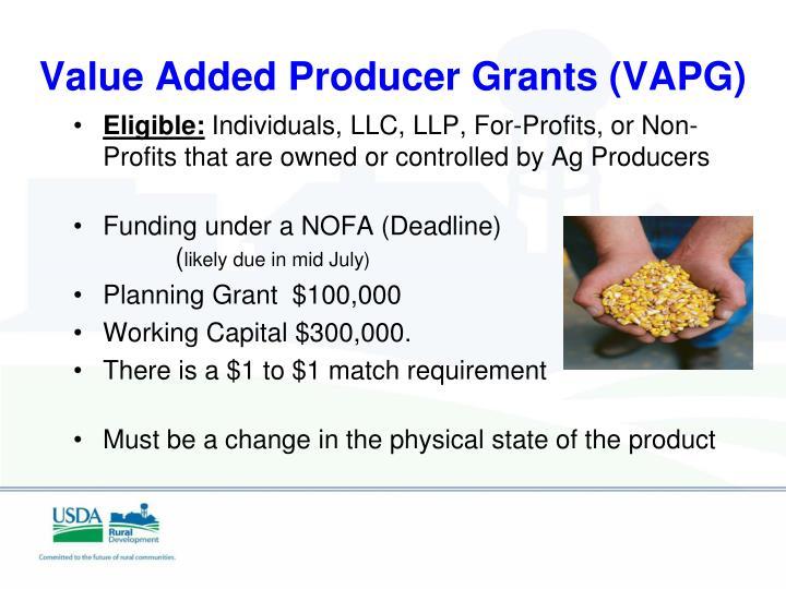Value Added Producer Grants (VAPG)