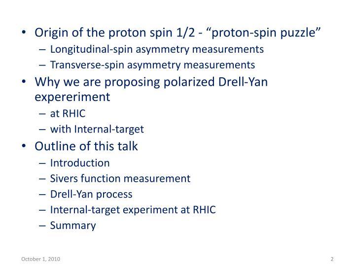 """Origin of the proton spin 1/2 - """"proton-spin puzzle"""""""