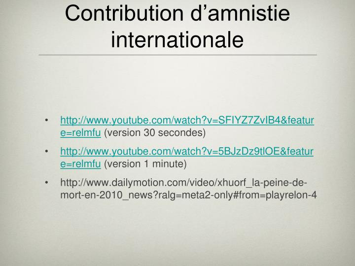 Contribution d'amnistie internationale