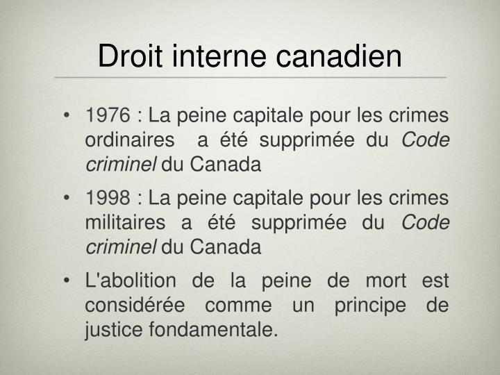 Droit interne canadien