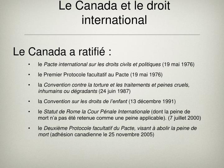 Le Canada et le droit international