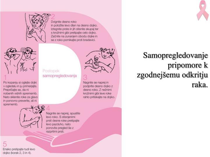 Samopregledovanje  pripomore k zgodnejšemu odkritju raka.