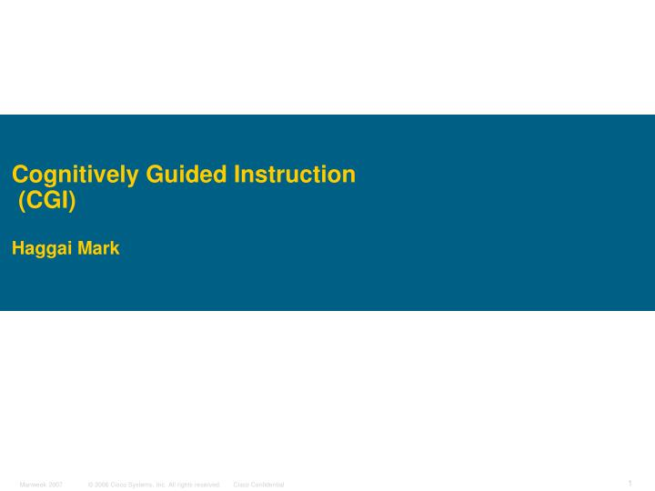 cognitively guided instruction cgi haggai mark n.