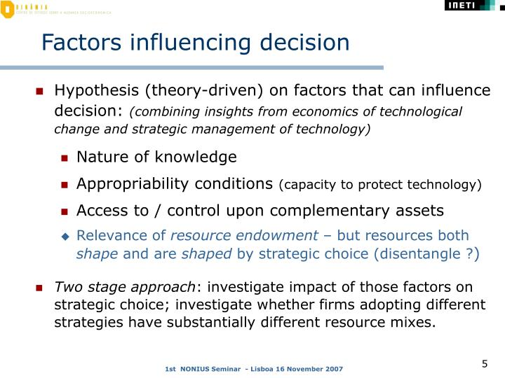 Factors influencing decision