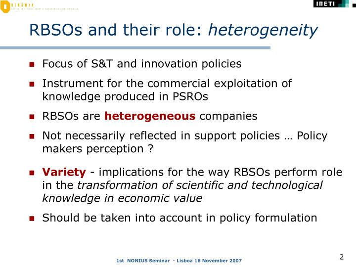 Rbsos and their role heterogeneity