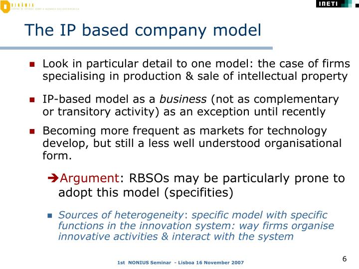 The IP based company model