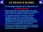 le silence radio