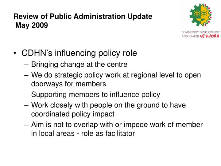Review of public administration update may 2009