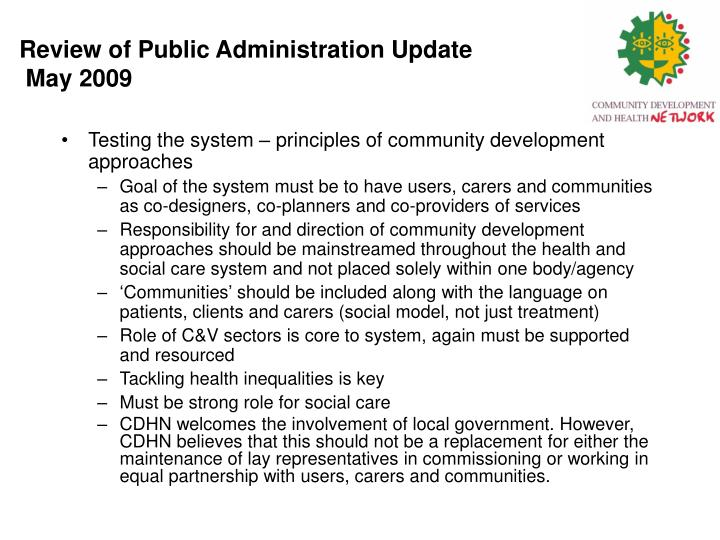 Review of public administration update may 20091