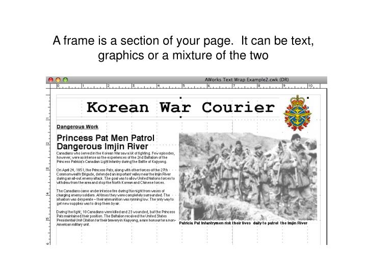 A frame is a section of your page.  It can be text, graphics or a mixture of the two