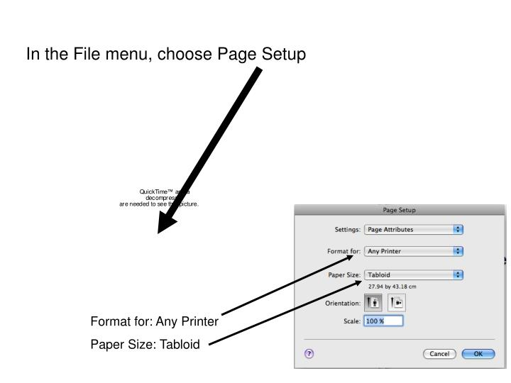 In the File menu, choose Page Setup