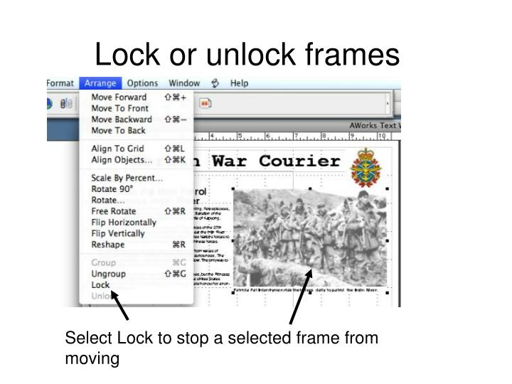Lock or unlock frames