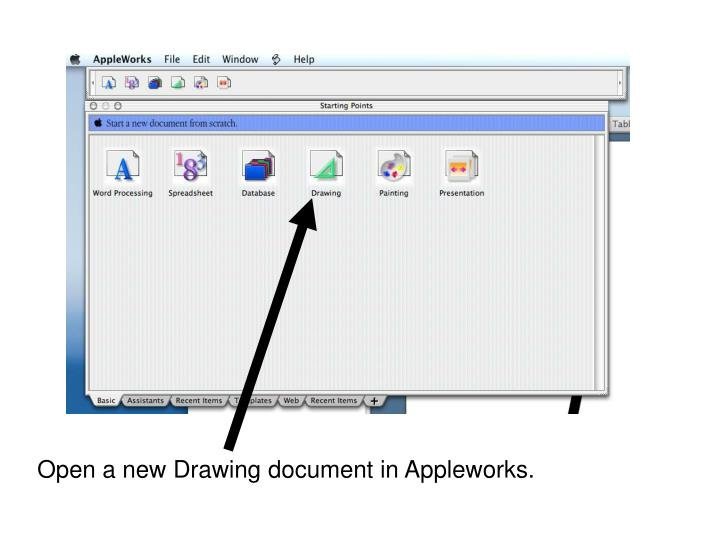 Open a new drawing document in appleworks