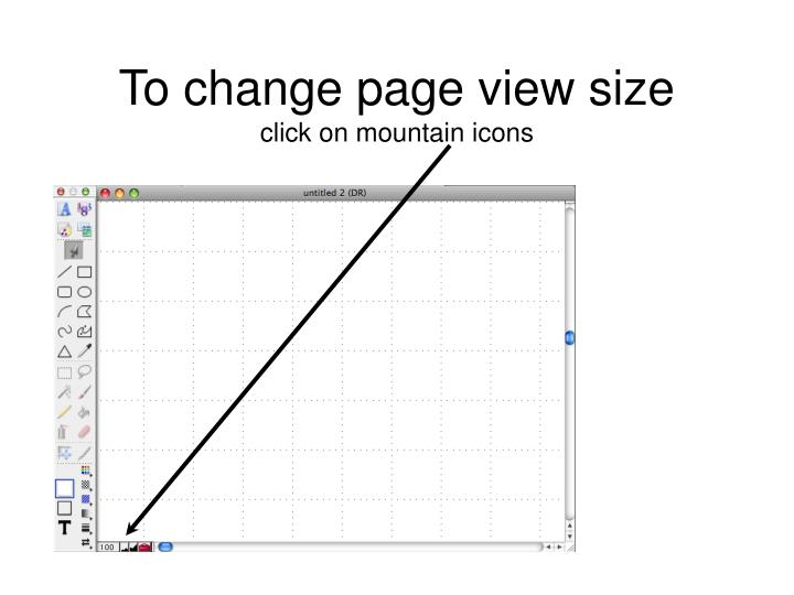 To change page view size click on mountain icons