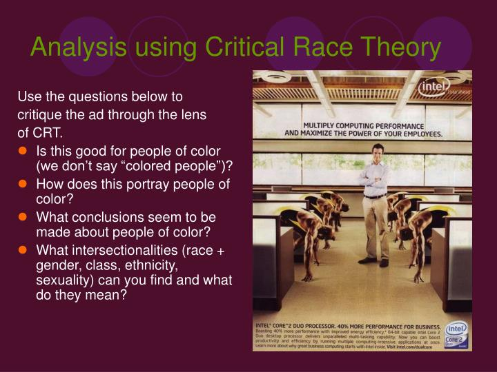 the critical race theory essay Critical race theory (crt) is a movement that challenges the ability of conventional legal strategies to deliver social and economic justice and specifically calls for legal approaches that take into consideration race as a nexus of american life the movement champions many of the same.
