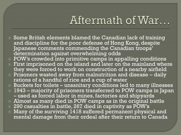 Aftermath of War…