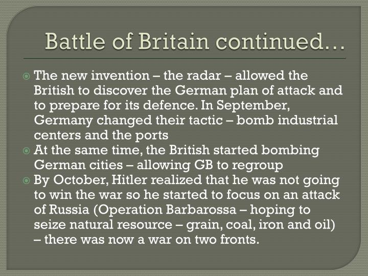 Battle of Britain continued…
