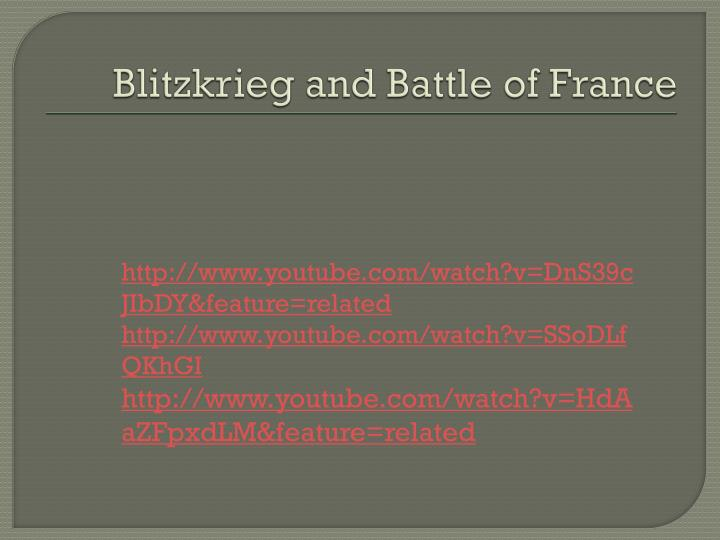 Blitzkrieg and Battle of France