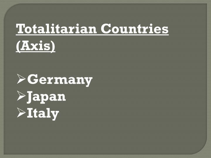 Totalitarian Countries (Axis)