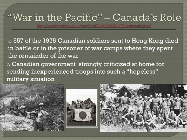 """""""War in the Pacific"""" – Canada's Role"""