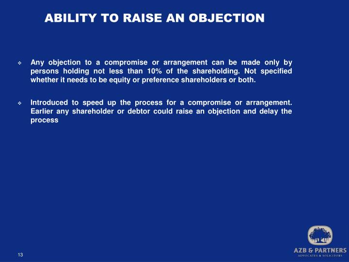 ABILITY TO RAISE AN OBJECTION