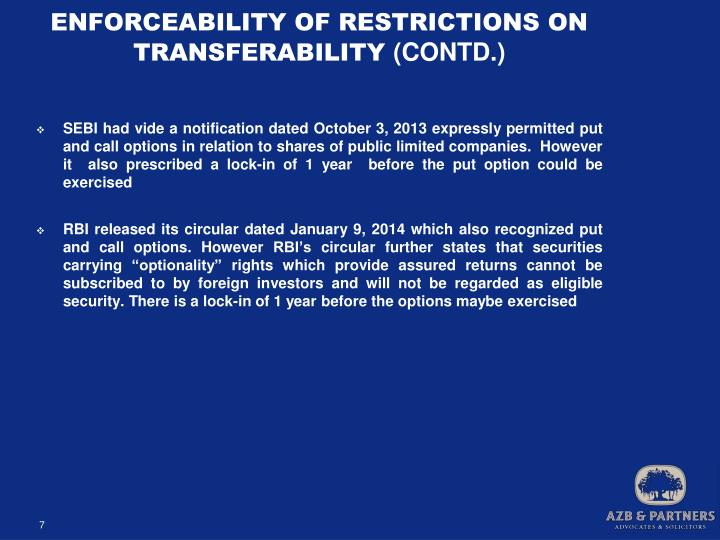 ENFORCEABILITY OF RESTRICTIONS ON TRANSFERABILITY