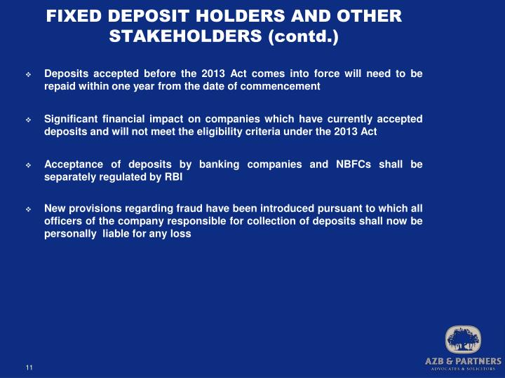 FIXED DEPOSIT HOLDERS AND OTHER STAKEHOLDERS (contd.)