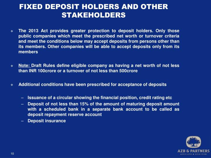 FIXED DEPOSIT HOLDERS AND OTHER STAKEHOLDERS