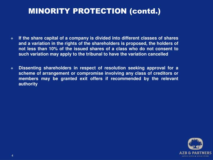 MINORITY PROTECTION (contd.)