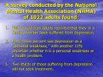 a survey conducted by the national mental health association nhma of 1022 adults found
