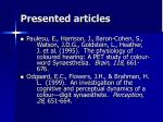 presented articles