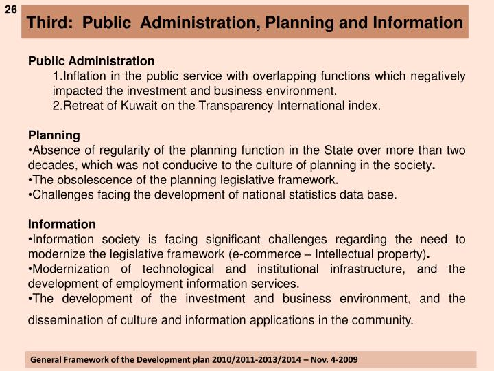 Third:  Public  Administration, Planning and Information