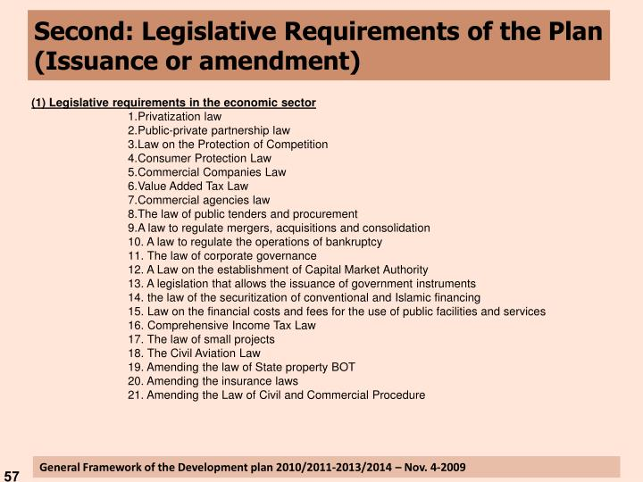 Second: Legislative Requirements of the Plan (Issuance or amendment)