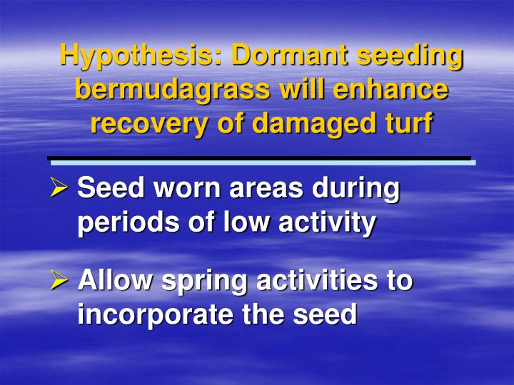 Hypothesis: Dormant seeding bermudagrass will enhance recovery of damaged turf